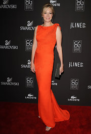 Nadja Swarovski looked long, lean and lovely in her orange evening gown at the 12th Annual Costume Designers Guild Awards in 2010.