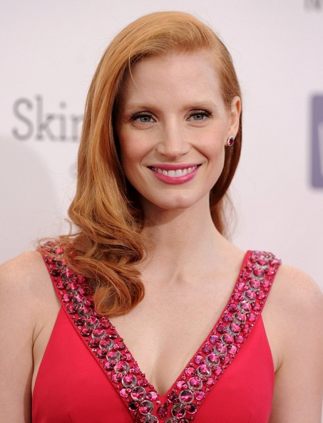 More Pics of Jessica Chastain Long Curls (1 of 13) - Jessica Chastain Lookbook - StyleBistro