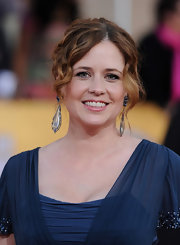 Jenna Fischer wore her long hair in a bobby-pinned updo with lots of soft curls at the 18th Annual SAG Awards.