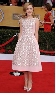 Kiernan showed off her girlie charm when she wore this pink beaded frock.