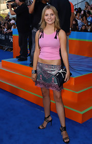 Beverly Mitchell arrived at the 2003 Teen Choice Awards wearing a pink tank top paired with an embroidered mini skirt.
