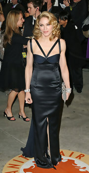 Madonna was divine in a satin evening gown at the Vanity Fair Oscar party.