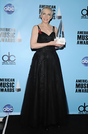 Annie's black beaded gown made her look like a princess.