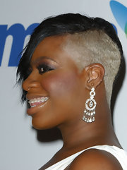 Fantasia Barrino matched her white dress with a pair of gorgeous diamond chandelier earrings.