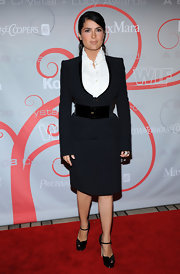 Salma Hayek paired her platform pumps with a chic suit at the 2008 Crystal + Lucy Awards.