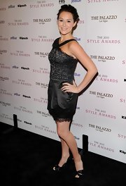 Alexa Vega looked ladylike in black satin peep toes. The glam pumps were the perfect heels for her lacy halter dress.