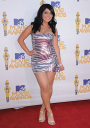 Angelina Pivarnick tantalized in a short, tight sequined zebra-print dress at the 2010 MTV Movie Awards.