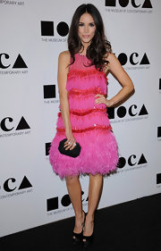 Abigail Spencer looked playful in a hot pink feathered dress at the 2011 MOCA Gala.