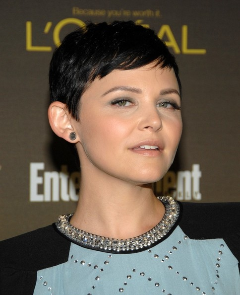 Ginnifer Goodwin stuck to her usual pixie cut when she attended the 2012 Entertainment Weekly pre-Emmy party.