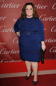 Melissa McCarthy wore a navy knit cocktail dress with heavy beading for the Palm Springs International Film Festival.