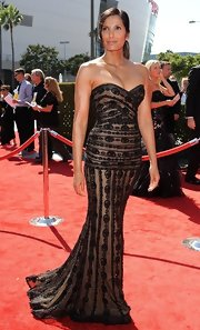 Padma looked regal in this structured strapless gown at the Creative Arts Emmy Awards.