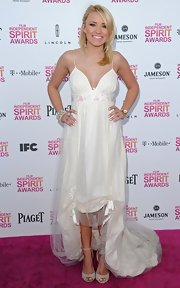 Emily Osment opted for a soft and feminine look at the Independent Spirit Awards with a flowy high-low dress.