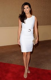 Eva wore a summery white dress with a matching belt while at the Hollywood Foreign Press Association's Luncheon.