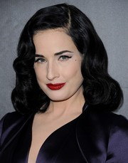 Dita Von Teese sported her trademark retro curls at the amfAR Inspiration LA Gala.