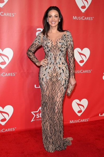 Bleona looked super seductive at the MusiCares Person of the Year Gala in a tight, sheer gown with strategically placed beading.
