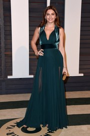 Alyssa Miller worked the sheer trend in sexy teal gown during the Vanity Fair Oscar party.