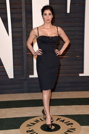 Sarah Silverman complemented her LBD with metallic gold peep-toe pumps.
