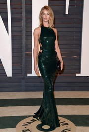Rosie Huntington-Whiteley brought a bondage vibe to the Vanity Fair Oscar party with this sequined green cutout gown by Alexandre Vauthier.