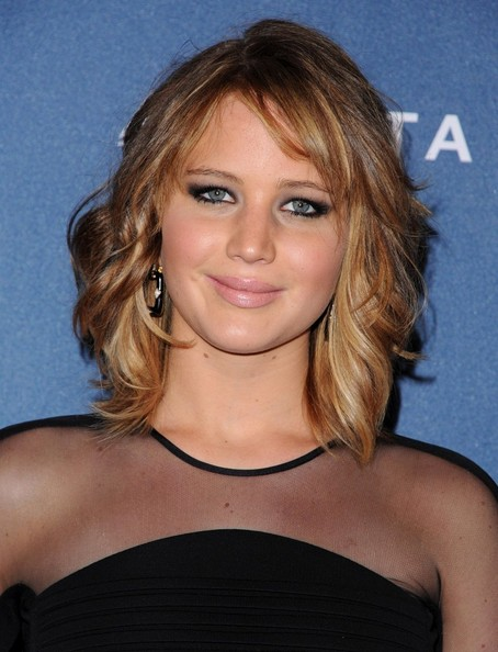 More Pics of Jennifer Lawrence Medium Wavy Cut with Bangs (4 of 18) - Jennifer Lawrence Lookbook - StyleBistro