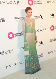 Darby Stanchfield paired her dress with an elegant beaded purse by Heliopolis.