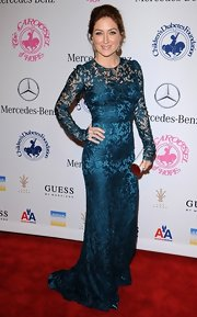 This rich teal breathed new life into classic lace at the Carousel of Hope Ball.