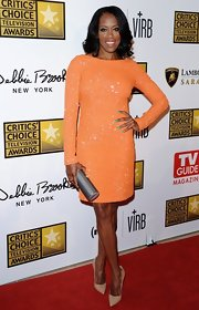 Regina King looked downright classy in a beaded peach cocktail dress at the Critics' Choice TV Awards.