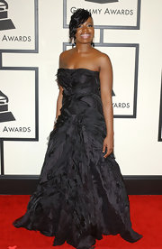 Fantasia Barrino was all glammed up for the 50th Grammy Awards wearing a black ball gown with feather detailing.