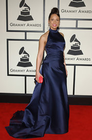 Alicia Keys was a vision at the Grammys in a navy ball gown with a halter neck.