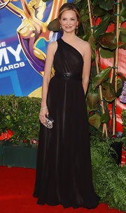 Calista Flockhart sported and elegant one-shouldered dress with flowing skirt for her look at the Primetime Emmy Awards.