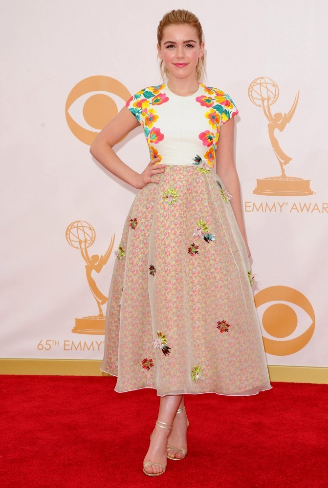 Red carpet arrivals at the 65th Annual Primetime Emmy Awards at the Nokia Theater in Los Angeles on September 22, 2013. Pictured: Kiernan Shipka.