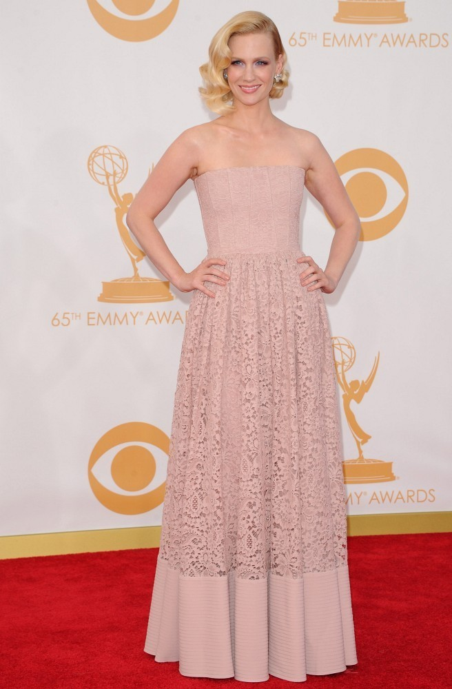 Red carpet arrivals at the 65th Annual Primetime Emmy Awards at the Nokia Theater in Los Angeles on September 22, 2013. Pictured: January Jones.