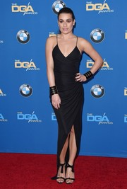 Lea Michele oozed sultry appeal in a draped black wrap dress by Balmain during the DGA Awards.
