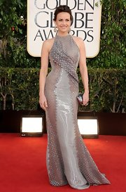 Carla struck a confident pose on the Golden Globe red carpet in this iridescent textured silver gown.