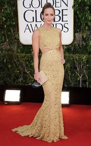 Emily Blunt wore the best cutout dress of the night in this muted yellow lace number at the Golden Globe Awards.