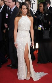 Lea Michele was positively stunning in this white beaded dress with a hip-high slit and delicate train.