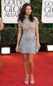 Thandie is never one to go with the norm on the red carpet. The fashion maven bared her knees in this darling beaded cocktail dress at the Golden Globes.