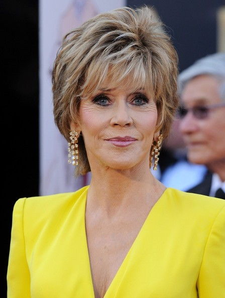 More Pics of Jane Fonda Layered Razor Cut (1 of 11) - Jane Fonda Lookbook - StyleBistro