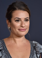 Lea Michele styled her hair into a messy French twist for the premiere of 'A Star is Born.'