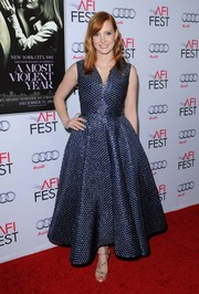 Jessica Chastain was equal parts fun and glam in a metallic-blue bubble-wrap jacquard dress by Roksanda during the Hollywood premiere of 'A Most Violent Year.'