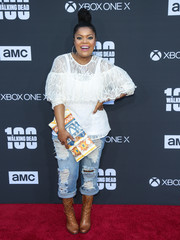 Yvette Nicole Brown kept it sweet up top in a white lace blouse from Target at the 'Walking Dead' 100th episode celebration.