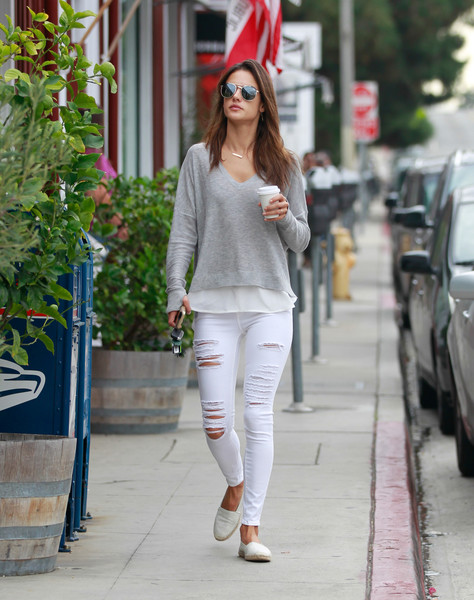 Alessandra Ambrosio Ripped Jeans