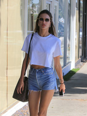 Alessandra Ambrosio took a stroll in LA wearing a pair of oval shades.