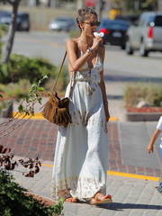 Alessandra Ambrosio's ále by Alessandra backless maxi dress looked perfect for hot weather!
