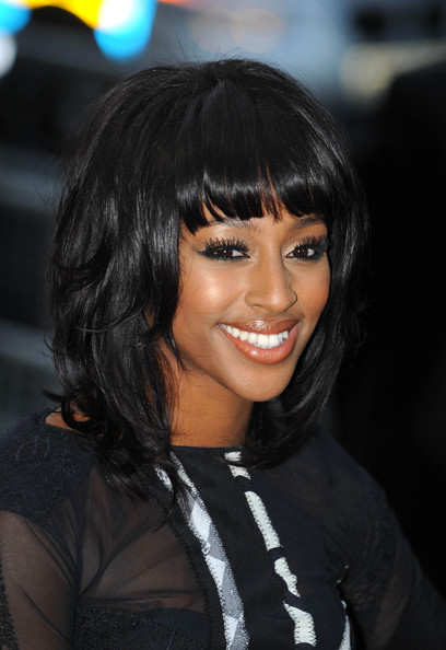 Alexandra Burke Medium Wavy Cut with Bangs