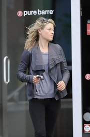 Ali Larter chose this dark gray leather jacket for her look while out in LA.