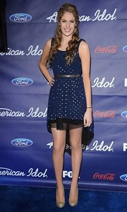 Shannon Magrane wore this gold dotted fishtail dress to the American Idol Finalists Party.