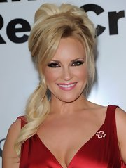 Bridget Marquardt wore her hair in with lots of volume and styled in a sleek spiral ponytail while attending the American Red Cross Red Tie Affair.