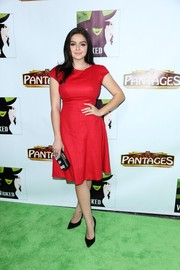 Ariel Winter got into the holiday mood with this bright red Paule Ka dress during a showing of 'Wicked.'
