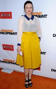 Amber Tamblyn's sunshine yellow skirt added some color to her red carpet look.