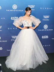Sofia Carson was the belle of the ball in a white princess gown by Monique Lhuillier at the Art of Elysium celebration.